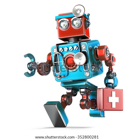 Running Robot Doctor with stethoscope. Isolated over white. Contains clipping path