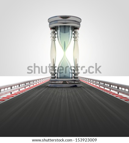 running sand-glass on motorway track time lack illustration - stock photo