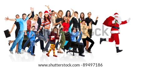 Running Santa and a group of happy people. Christmas. Isolated on white background. - stock photo
