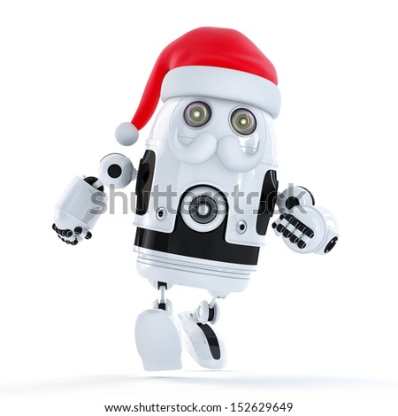 Running Santa robot. Technology concept. Isolated - stock photo