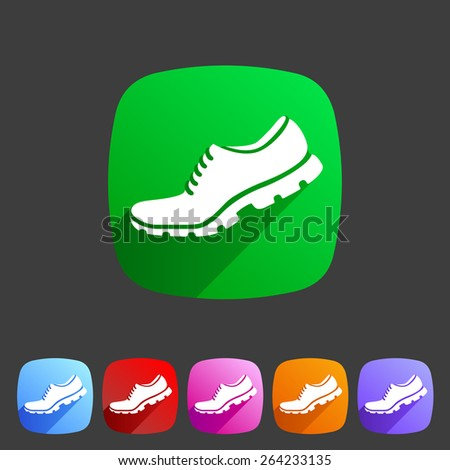 Running shoe, sneaker, trainer flat icon set