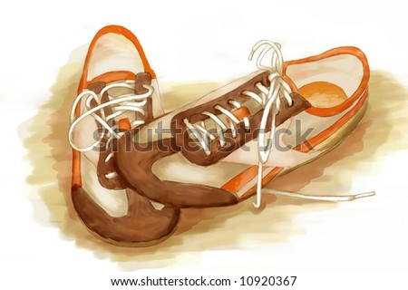 running shoes. digital watercolor - stock photo