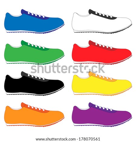 Running Shoes in Different Colours Blue White Green Red Black Yellow Orange Purple - stock photo