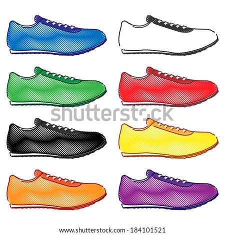 Running Shoes in Different Colours Blue White Green Red Black Yellow Orange Purple Pencil Style 2 - stock photo