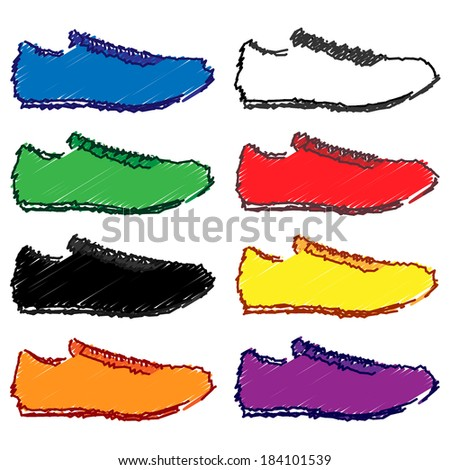Running Shoes in Different Colours Blue White Green Red Black Yellow Orange Purple Pencil Style 1 - stock photo