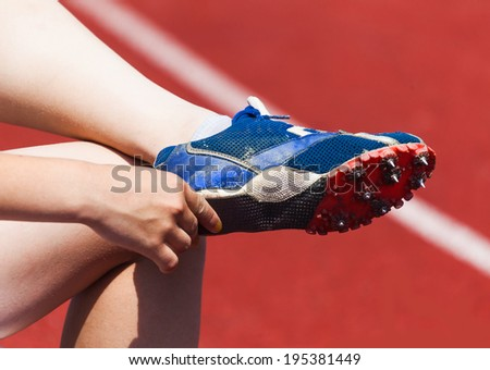 running shoes, sports background - stock photo