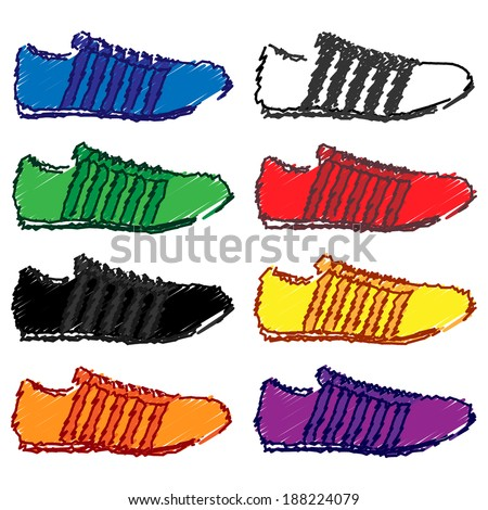Running Shoes with Stripes in Different Colours Blue White Green Red Black Yellow Orange Purple Pencil Style  - stock photo