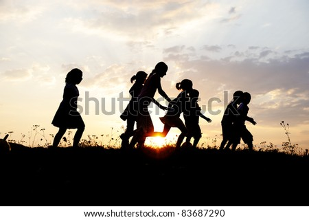 Running sport kids, nature sunset