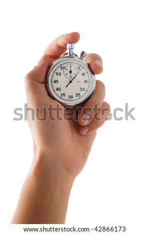 Running stopwatch in the hand, vertical composition, isolated on white