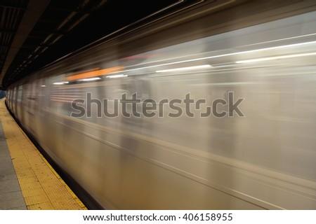 Running subway train. - stock photo