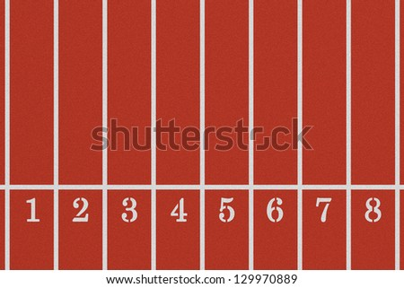 Running track from a bird's perspective showing eight lanes - stock photo