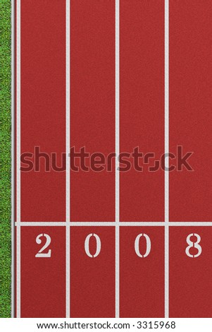 Running track from a bird's perspective showing 4 lanes with the year 2008 and a patch of lawn on the left - stock photo