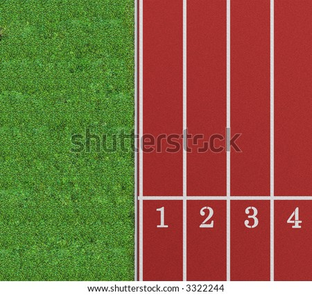 Running track from a bird's perspective showing the first 4 lanes with lawn on the left - stock photo