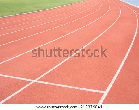 Running track in stadium - stock photo