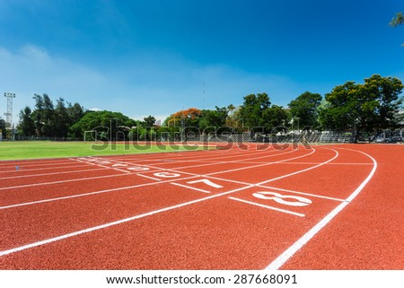 running track in stadium for athlete,jogging,relax,walk and running - stock photo