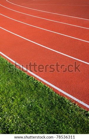 Running track lanes for athletes sport concept - stock photo