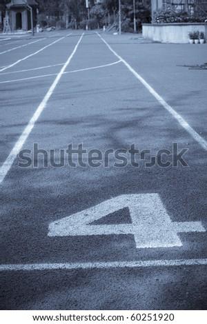 running track lines - stock photo