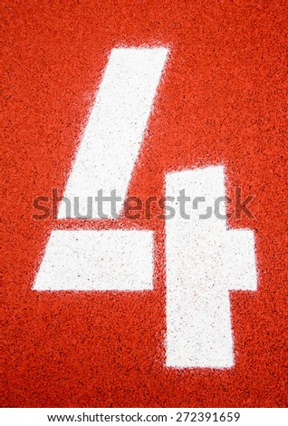 Running track, number 4 - stock photo