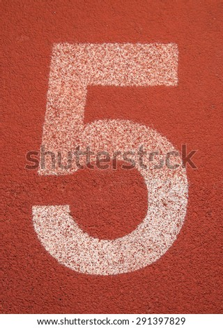 Running track number five background - stock photo