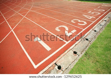 Running track number in stadium