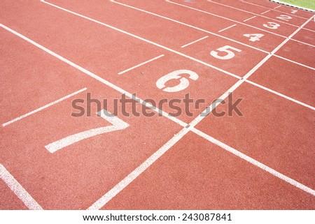 Running track number in stadium. - stock photo