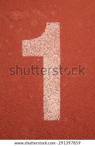 Running track number one background - stock photo