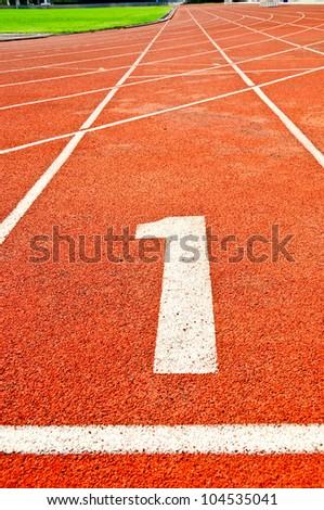 Running track numbers in Stadium. - stock photo