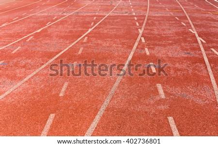 Running track on the stadium / Running track - stock photo