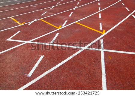 Running track (Running track rubber with line ) - stock photo