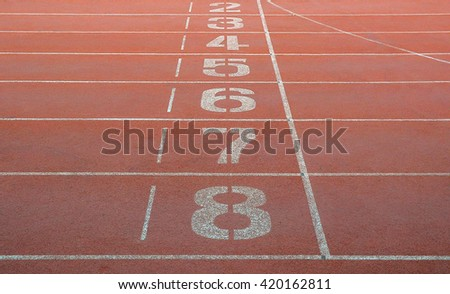 Running track. Start and finish point of running track without number one. Abstract photo. - stock photo
