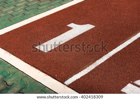 Running Track Start  number one - stock photo
