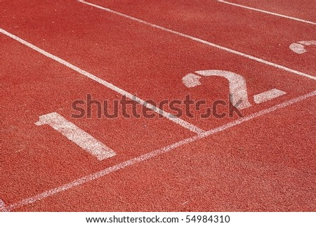 Running track starting line - stock photo