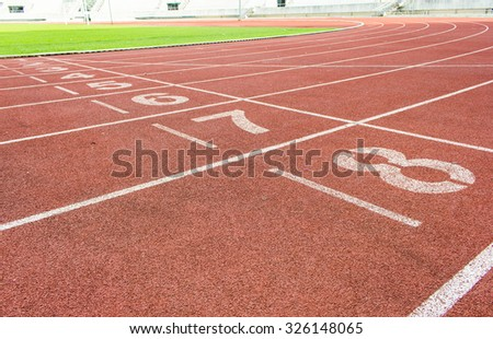 Running track texture with lane numbers