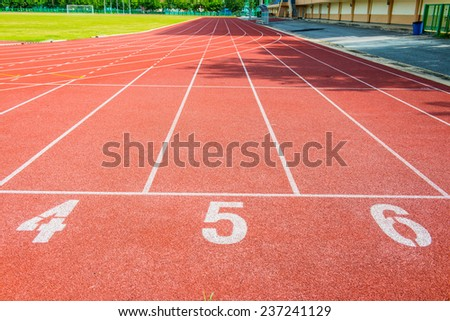 Running track with number, Thailand. - stock photo