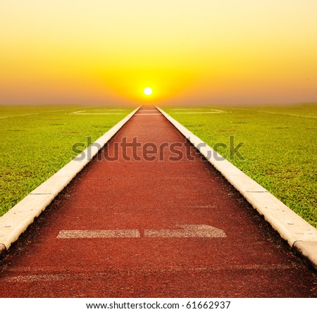 Running track with one lanes with sky sunset - stock photo