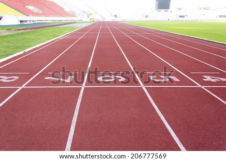 Running tracks for athletic in outdoor stadium. - stock photo
