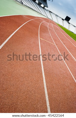 Running tracks in a stadium - stock photo