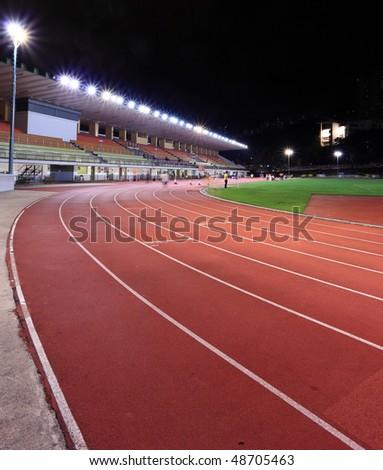 Running tracks in a stadium - stock photo