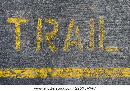 Running Trail  sign on pedestrian  - stock photo