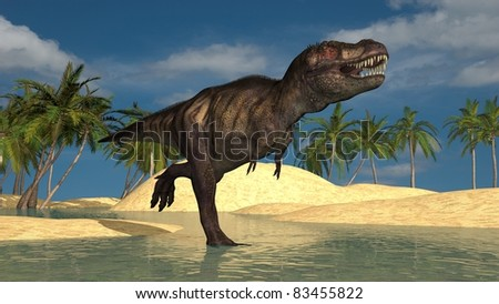 running tyrannosaurus - stock photo