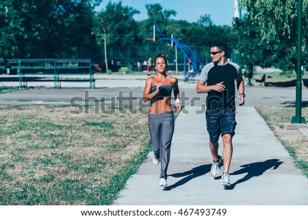 Running with personal trainer