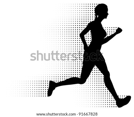 Running Woman & Halftone Trail. Silhouette of a healthy woman running at great speed with an abstract halftone trail following behind her. Black and white illustration (gradient free).