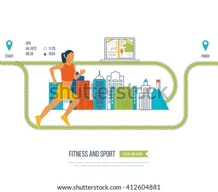 Running woman. Modern flat icons of healthy lifestyle, fitness and physical activity. Healthy lifestyle and fitness concept. Mobile gps navigation on laptop with map illustration.  - stock photo