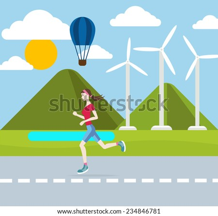Running woman outdoors in flat design style. Jogging outdoors with wind turbines on background. Raster version - stock photo