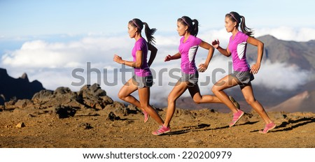 Running woman - runner in speed showing sprinting motion. Female sport athlete sprinter composite in beautiful nature landscape. Fit fitness model in fast sprint run in dramatic nature landscape. - stock photo
