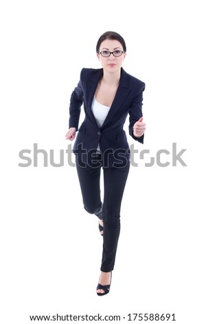 running young business woman in suit isolated on white background - stock photo