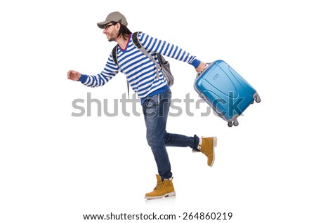 Running young traveller with case isolated on white - stock photo