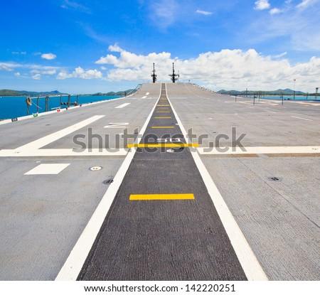 Runway at takeoff on battleship and  Runway Aircraft Carrier  - stock photo