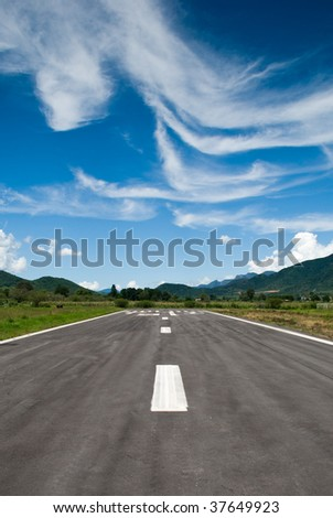 Runway strip with stunning sky background