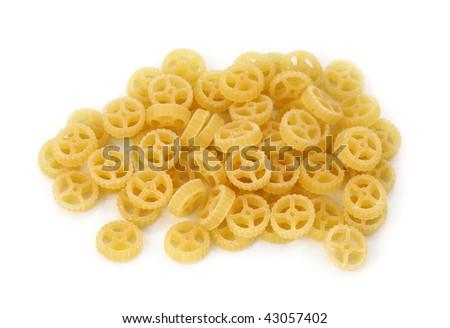 Ruote pasta isolated on white background - stock photo